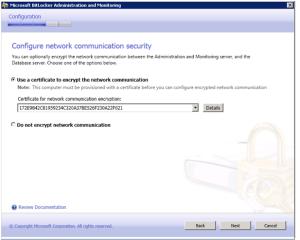 Zertifikat für Kommunikation zwischen SQL und Administration Server