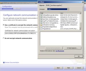 Zertifikat für Netzwerkverschlüsselung