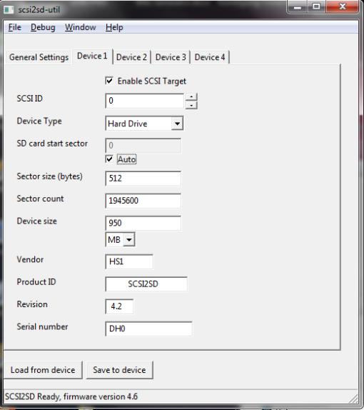SCSI2SD-util Device